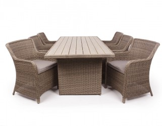 1.Siesta Dusty Havemøbelsæt m/6 spisestole - 94x210 cm