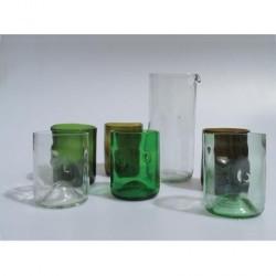 6 glas & 1 kande (genbrugsflasker)
