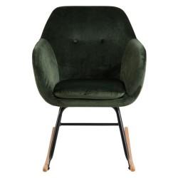 ACT NORDIC Emilia gyngestol, m. armlæn - grøn polyester, natur bøg og sort metal
