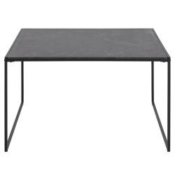 ACT NORDIC Infinity kvadratisk sofabord - sort melamin m. marmorprint og sort metal (80x80)