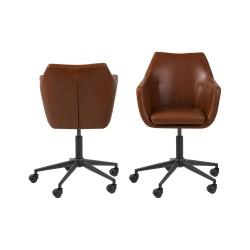 ACT NORDIC Nora skrivebordsstol m. armlæn, 5 stjernet fod og hjul - vintage cognac PU og sort metal