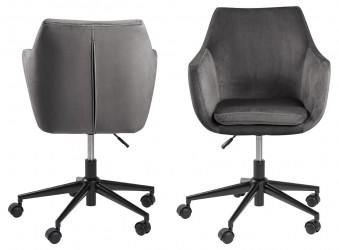 Act Nordic Nora skrivebordsstol - mørkegrå stof og sort, m. armlæn og hjul