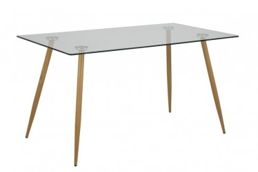 Act Nordic Wilma spisebord - Klar glas, m. glasplade og ben med egelook, rektangulær, inkl pastik fodsko, (75x140x80)