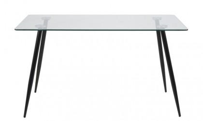 Act Nordic Wilma spisebord - Klar/sort glas, m. glasplade og sorte ben, rektangulær, inkl plastik fodsko, (75x140x80)