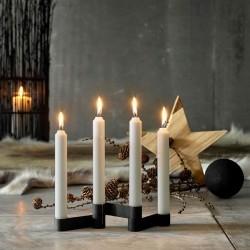 Adventsstage lysestage i sort støbejern