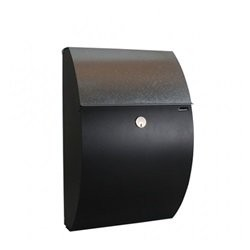 Allux 7000 F47473 Postkasse - Sort m. galvaniseret klap