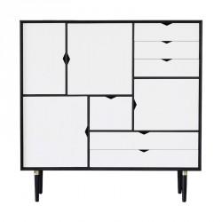 Andersen Furniture - S3 Højskænk - Sort lak - Hvid