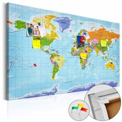 ARTGEIST Countries Flags verdenskort billede - multifarvet print på kork, 2 størrelser 120x80