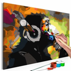 ARTGEIST DIY Monkey In Headphones Multi Colour maleri - hvidt lærred, maling, 2 pensler (60x40)