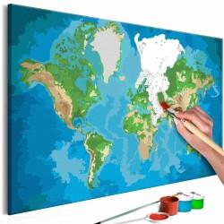 ARTGEIST DIY Verdenskort Blue & Green maleri - hvidt lærred, inkl. maling og 2 pensler (H: 40cm)