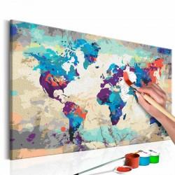 ARTGEIST DIY Verdenskort Blue & Red maleri - hvidt lærred, inkl. maling og 2 pensler (H: 40cm)