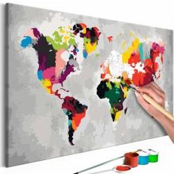 ARTGEIST DIY Verdenskort Bright Colours maleri - hvidt lærred, inkl. maling og 2 pensler (H: 40cm)