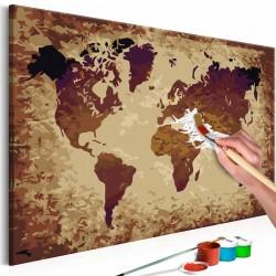 ARTGEIST DIY Verdenskort Brown Colours maleri - hvidt lærred, inkl. maling og 2 pensler (H: 40cm)