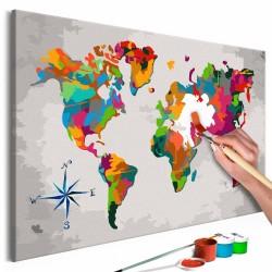 ARTGEIST DIY Verdenskort Compass Rose maleri - hvidt lærred, inkl. maling og 2 pensler (H: 40cm)