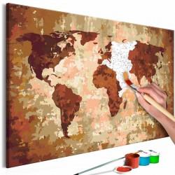 ARTGEIST DIY Verdenskort Earth Colours maleri - hvidt lærred, inkl. maling og 2 pensler (H: 40cm)