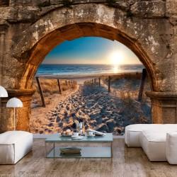 ARTGEIST Fototapet - Arch and Beach, strand og bue (flere størrelser) 100x70
