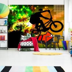 ARTGEIST Fototapet - Bicycle Tricks, silhouette af BMX'er (flere størrelser) 100x70