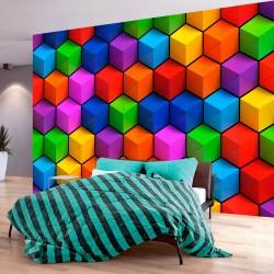 ARTGEIST fototapet - Colorful Geometric Boxes, farverig 3D effekt (flere størrelser) 250x175
