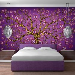 ARTGEIST Fototapet med illustration af træ i farverigt grafisk mønster (flere størrelser) 250x175