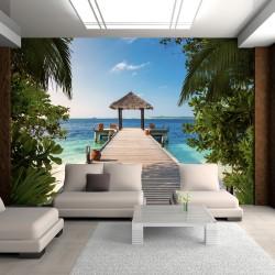ARTGEIST - Fototapet med udsigt til en badebro i paradis - Flere størrelser 200x140