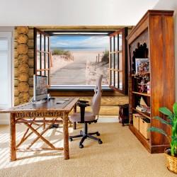 ARTGEIST - Fototapet med udsigt til strand fra en bjælkehytte - Flere størrelser 200x140