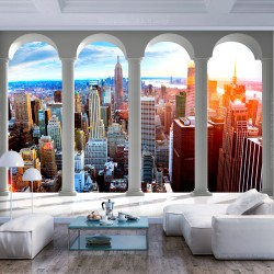 ARTGEIST Fototapet - Pillars and New York, udsigt over New York (flere størrelser) 300x210
