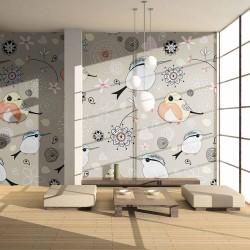 ARTGEIST Naturlig mønster med fugle fototapet - multifarvet print (231x300)