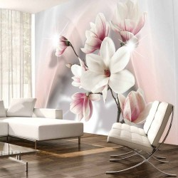ARTGEIST White magnolias fototapet - hvid/lyserød/grå print (105x150)