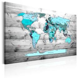 ARTGEIST World Map: Blue World - Klassisk verdenskort i blå trykt på lærred - Flere størrelser 120x80