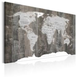 ARTGEIST World Map: Wooden World - Verdenskort med træ-baggrund trykt på lærred - Flere størrelser 120x80