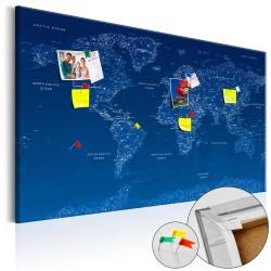 ARTGEIST World Map: World Connection - Verdenskort i blå med linjer trykt på kork - Flere størrelser 120x80