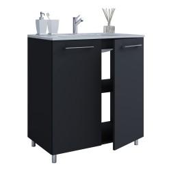 badeværelsesmøbelsæt, m. ben - keramik og sort melamin