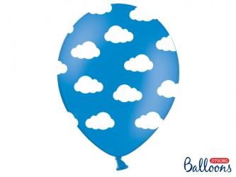Balloner, blå med hvide skyer. 6 stk