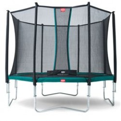Berg trampolin med net - Favorit - Ø 430 cm - Grøn
