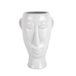 Blomster krukke med maske - hvid