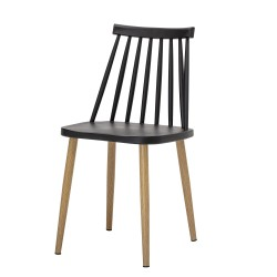 BLOOMINGVILLE Bajo spisebordsstol - sort plastik og metal/træ ben