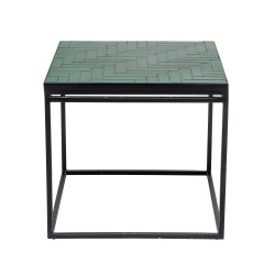 BLOOMINGVILLE Bay sidebord - grøn/sort beton/jern, kvadratisk (41x41)