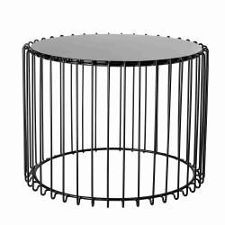 BLOOMINGVILLE Cal sofabord - sort glas/jern, rund (Ø54)