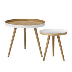 BLOOMINGVILLE Cappuccino sofabord - hvid/natur bambus, rund (sæt á 2)