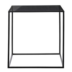 BLOOMINGVILLE Cube sofabord - sort glas/jern, kvadratisk (50x50)