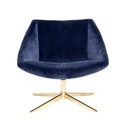 BLOOMINGVILLE Elegant drejestol - blå/guld polyester/metal, m. armlæn