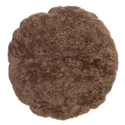 BLOOMINGVILLE gulvpude - brun fåreskind, rund (Ø70)