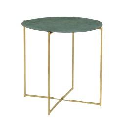 BLOOMINGVILLE Leaf sofabord - grøn/guld jern, rund (Ø45)