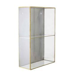BLOOMINGVILLE Lia vægskab - messing/klar stål/glas, m. 1 låge og 1 hylde