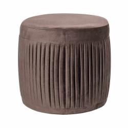 BLOOMINGVILLE Pleat puf - mørkebrun polyester, rund (Ø40)