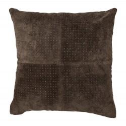 BLOOMINGVILLE pude - brun ruskind, kvadratisk (45x45)