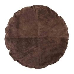 BLOOMINGVILLE pude - brun ruskind, rund (Ø45)