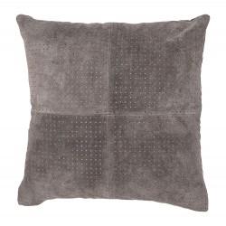 BLOOMINGVILLE pude - grå ruskind, kvadratisk (45x45)