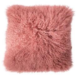 BLOOMINGVILLE pude - rosa mongolsk lammeskind, kvadratisk (40x40)