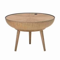 BLOOMINGVILLE Ronda sofabord - natur egetræsfinér/egetræ, rund (Ø60)